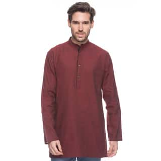 Handmade In-Sattva Shatranj Men's Crimson Indian Kurta Tunic with Banded Collar and Diamond Pattern (India)|https://ak1.ostkcdn.com/images/products/13286562/P19996338.jpg?impolicy=medium