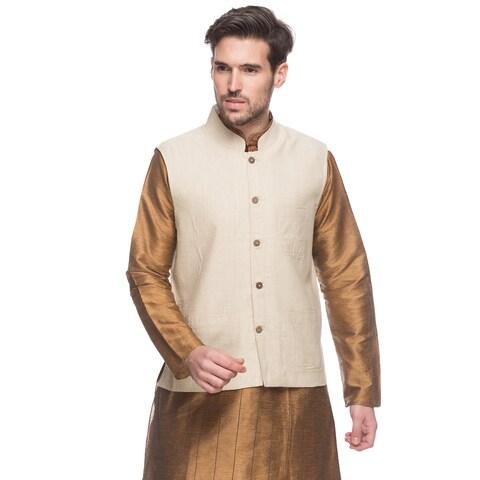 Handmade In-Sattva Shatranj Men's Indian Button Down Vest with Mandarin Collar (India)
