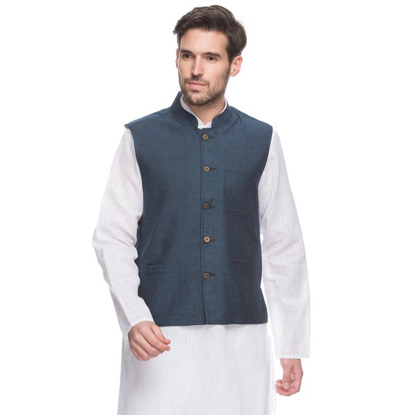 Handmade Mens Blue Indian Button-Down Vest with Mandarin Collar (India)