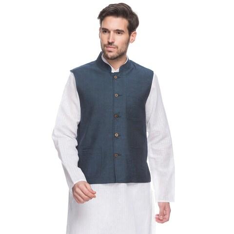 Handmade Men's Blue Indian Button-Down Vest with Mandarin Collar (India)