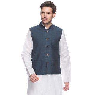 Handmade Men's Blue Indian Button-Down Vest with Mandarin Collar (India)