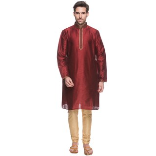 Handmade In-Sattva Shatranj Men's Crimson Indian Tunic with Fine Embroidered Placket and Drawstring Pants (2-