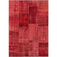 eCarpetGallery Red Wool and Cotton Color Transition Patchwork Rug - 5'5x7'10