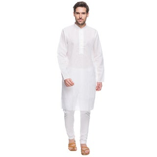 In-Sattva Shatranj Men's Indian Ethnic Fine Embroidered Placket 2-Pcs White Checkered Suit Set