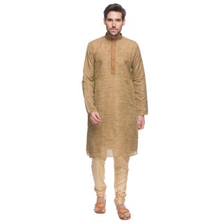 Handmade In-Sattva Shatranj Men's Indian Textured Pants and Tunic with Embroidered Placket 2-Piece Set (India