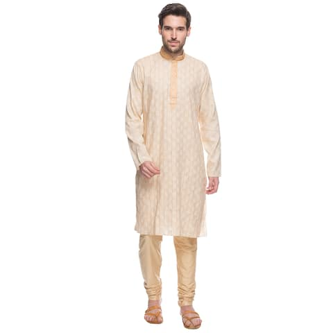 Handmade In-Sattva Shatranj Men's Indian Beige Tunic (with Embroidered Placket) and Trousers 2-Piece Suit Set (India)