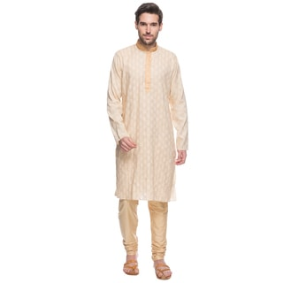 Handmade In-Sattva Shatranj Men's Indian Beige Tunic (with Embroidered Placket) and Trousers 2-Piece Suit Set