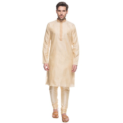 Handmade In-Sattva Shatranj Men's Indian Tunic with Embroidered Placket and Drawstring Pants (2-Piece Set) (I (India)