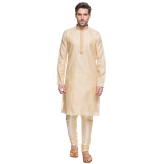 In-Sattva Shatranj Men's Indian Tunic with Embroidered Placket and Drawstring Pants (2-Piece Set) (India)