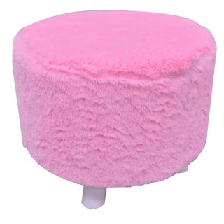 Kendell Furry Ottoman (Option: Pink)