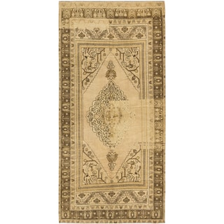 eCarpetGallery Antique Anatolian Blue and Ivory Wool Rug (5'4x10'9)