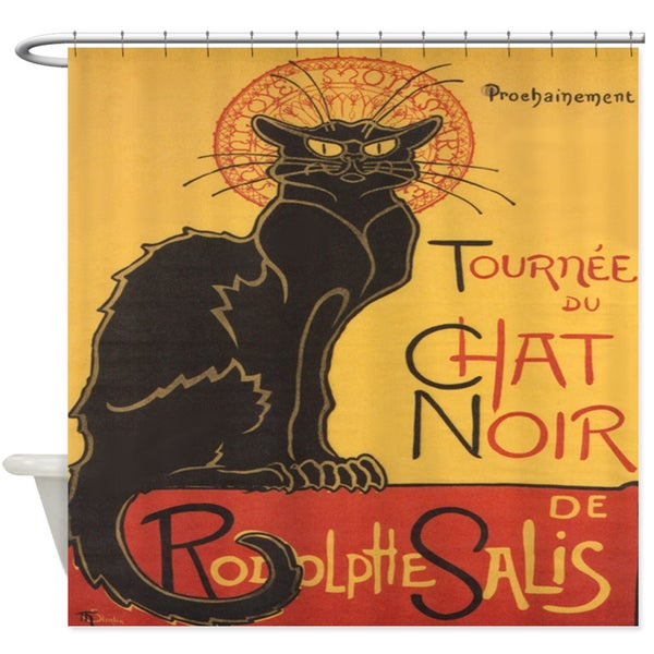 Chat Noir Fabric Shower Curtain