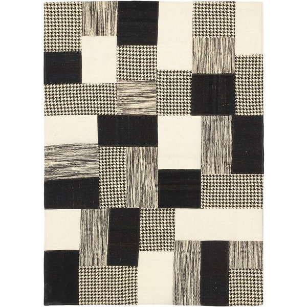 Shop Ecarpetgallery Moldovia Patch Black And White Wool Kilim Area