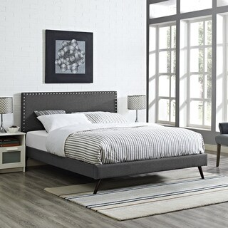Phoebe Grey Upholstered Platform Bed with Round Splayed Legs