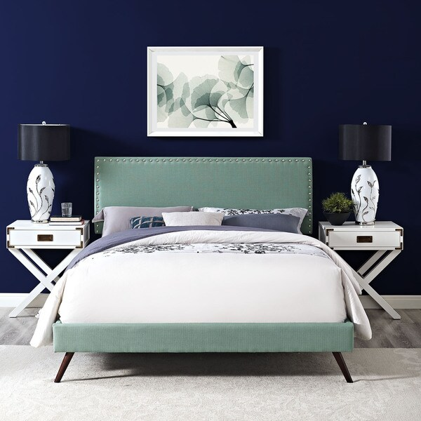 Shop Phoebe Fabric Platform Bed With Round Splayed Legs In