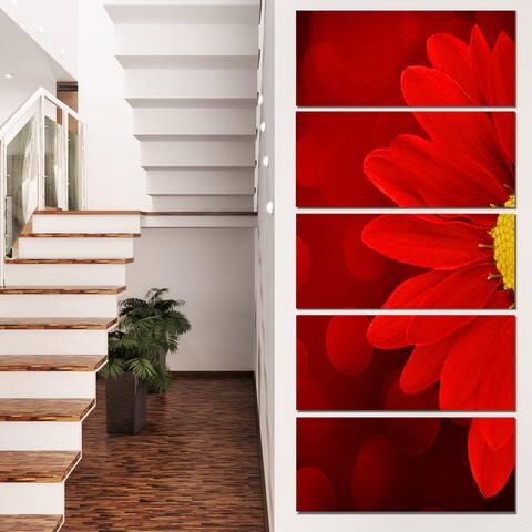 Designart 'Red Flower with Lit-up Background' Large Floral Canvas Artwork - Red