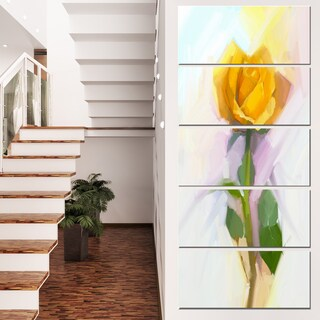 Designart 'Rose With Green Leaves Painting' Large Floral Canvas Artwork