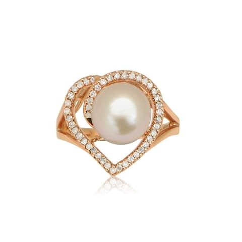 Pearl Lustre 14k Rose Gold Freshwater Pearl Heart-shaped Diamond Accent Ring - White