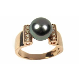 Pearl Lustre 14K Rose Gold Black Tahatian Pearl and Diamond Ring