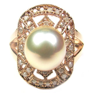 Pearl Lustre 14k Rose Gold Freshwater Pearl and Diamond Accent Ring