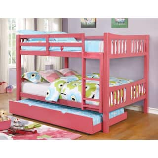 Bunk bed kids 39 toddler beds for less for Furniture of america pello full over full slatted bunk bed