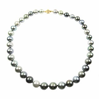 Pear Lustre 18k Yellow Gold Tahitian South Sea Pearl Necklace - Multi