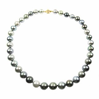 Pear Lustre 18k Yellow Gold Tahitian South Sea Pearl Necklace