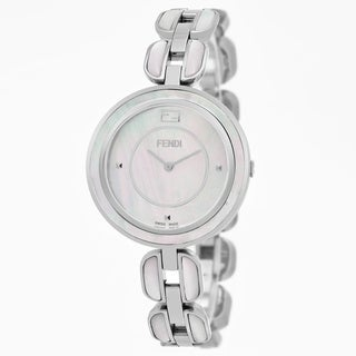 Fendi Women's F361034500 'My Way' Mother of Pearl Dial Stainless Steel MOP Large Swiss Quartz Watch