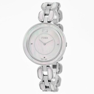 Fendi Women's 'My Way' Mother of Pearl Dial Stainless Steel MOP Large Swiss Quartz Watch