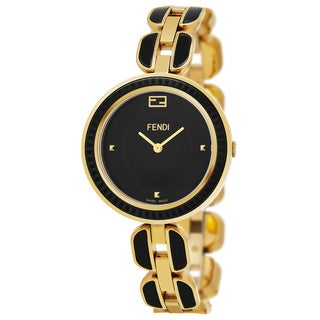 Fendi Women's F353431001 'My Way' Black Dial Yellow Goldtone Steel/Black Ceramic Fur Adorned Swiss Quartz Watch