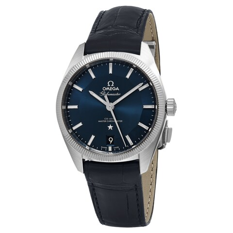 Omega Men's 'Constellation GlobeMaster' Blue Dial Blue Leather Strap Swiss Automatic Watch