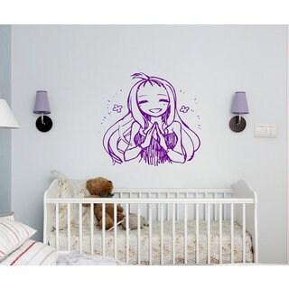 Anime decal, Anime stickers, Anime Vinyl, A girl prays, girl anime Sticker Decal size 22x26 Color Purple
