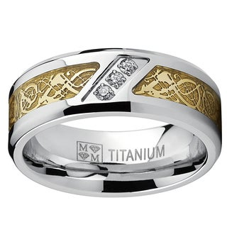 Men's 'Dragon' Titanium Wedding Band with Round-Cut Cubic Zirconia