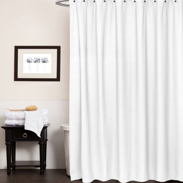 shop waffle weave cotton shower curtain free shipping on orders over 45 overstock 13287350. Black Bedroom Furniture Sets. Home Design Ideas