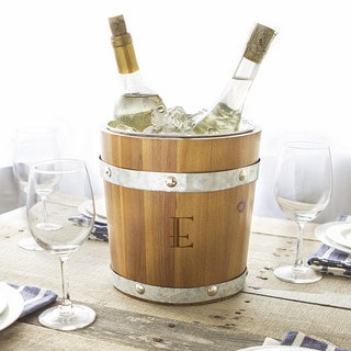 Personalized Bo\rown Wood and Metal Rustic Ice Bucket