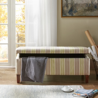 Madison Park Tessa Green/Taupe Tufted Top Storage Bench