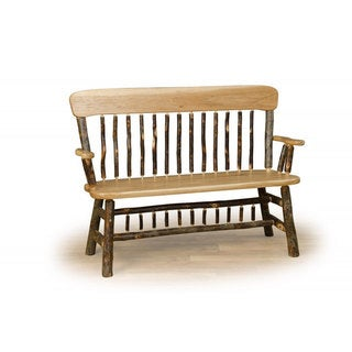 Rustic Deacon Bench w/Arms & Back - Hickory & Oak or All Hickory