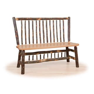 Rustic Stick Back Deacon Bench OR Hickory & Oak