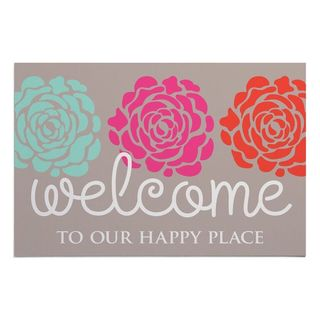 'Welcome to Our Happy Place' Multicolor Doormat