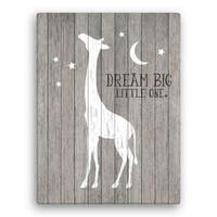 Giraffe Wall Canvas - Dream Big Little One 18x24
