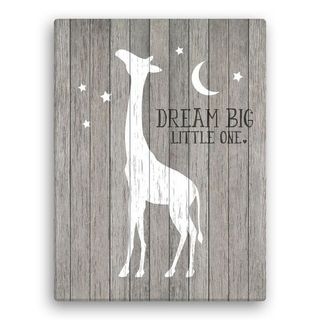 Giraffe Wall Canvas - Dream Big Little One 18x24