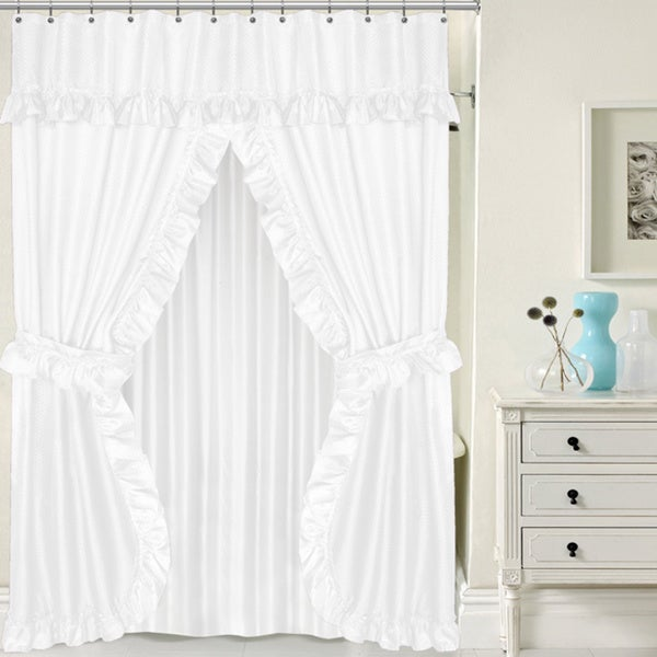 Attractive Double Swag 5 Piece Liner, Tie Back, And Shower Curtain Set