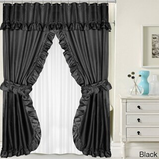 Double Swag 5-piece Liner, Tie-back, and Shower Curtain Set (Option: Black)