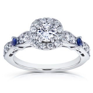 Annello by Kobelli 14k White Gold 1ct TCW Moissanite with Sapphire and Diamond Antique Engagement Ring (GH, I1-I2)