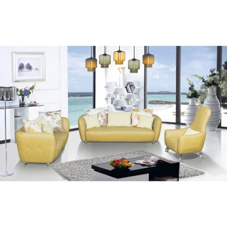 3-Piece Top Grain Leather Living Room Sofa, Loveseat and Chair Set (Option: Yellow)