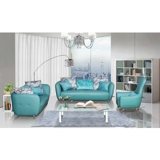 3-Piece Top Grain Leather Living Room Sofa, Loveseat and Chair Set