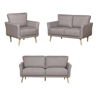 3-Piece Linen Fabric Sofa, Loveseat and Chair Living Room Set