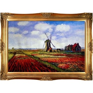 Claude Monet 'Tulip Field with the Rijnsburg Windmill' Hand Painted Framed Oil Reproduction on Canvas