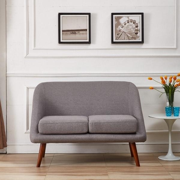 Shop Mid Century Modern Style Linen Fabric Loveseat Free