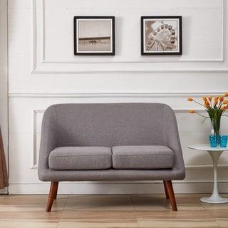Mid-Century Modern Style Linen Fabric Loveseat